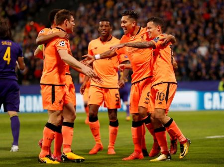 Soccer Football - Champions League - Maribor vs Liverpool - Ljudski vrt, Maribor, Slovenia - October 17, 2017   Liverpool's Philippe Coutinho celebrates scoring their second goal with Roberto Firmino, James Milner and team mates   Action Images via Reuters/Paul Childs