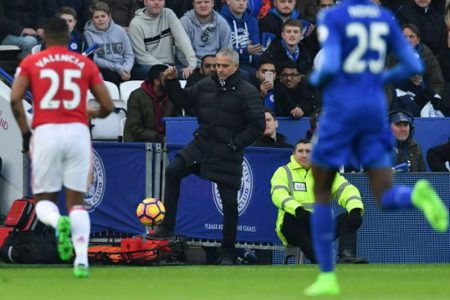 Manchester United's Portuguese manager Jose Mourinho controls the ball during the English Premier League football match between Leicester City and Manchester United at King Power Stadium in Leicester, central England on February 5, 2017. / AFP PHOTO / Ben STANSALL / RESTRICTED TO EDITORIAL USE. No use with unauthorized audio, video, data, fixture lists, club/league logos or 'live' services. Online in-match use limited to 75 images, no video emulation. No use in betting, games or single club/league/player publications.  /