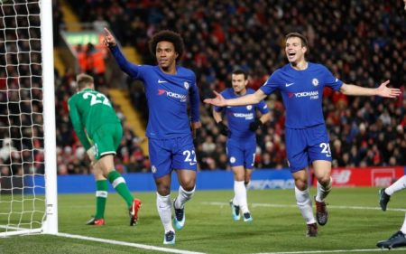 "Soccer Football - Premier League - Liverpool vs Chelsea - Anfield, Liverpool, Britain - November 25, 2017   Chelsea's Willian celebrates scoring their first goal with Cesar Azpilicueta    Action Images via Reuters/Carl Recine    EDITORIAL USE ONLY. No use with unauthorized audio, video, data, fixture lists, club/league logos or ""live"" services. Online in-match use limited to 75 images, no video emulation. No use in betting, games or single club/league/player publications. Please contact your account representative for further details.?"