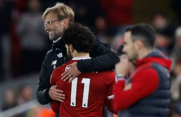 "Soccer Football - Premier League - Liverpool vs Swansea City - Anfield, Liverpool, Britain - December 26, 2017   Liverpool manager Juergen Klopp with Mohamed Salah as he is substituted              Action Images via Reuters/Carl Recine    EDITORIAL USE ONLY. No use with unauthorized audio, video, data, fixture lists, club/league logos or ""live"" services. Online in-match use limited to 75 images, no video emulation. No use in betting, games or single club/league/player publications.  Please contact your account representative for further details."