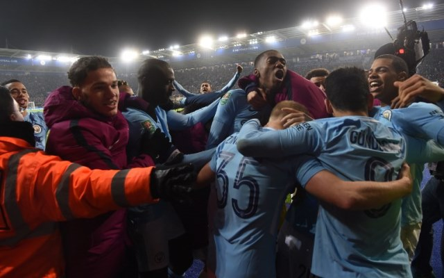 Manchester Cityn players celebrate after winning in the penalty shoot out after extra time in the English League Cup quarter-final football match between Leicester City and Manchester City at King Power Stadium in Leicester, central England on December 19, 2017. / AFP PHOTO / Paul ELLIS / RESTRICTED TO EDITORIAL USE. No use with unauthorized audio, video, data, fixture lists, club/league logos or 'live' services. Online in-match use limited to 75 images, no video emulation. No use in betting, games or single club/league/player publications.  /